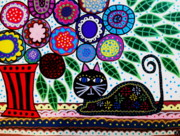 Tree Of Life Framed Prints - Talavera Cat Framed Print by Kerri Ambrosino GALLERY