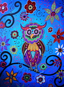 Whimsical Paintings - Talavera Owl by Pristine Cartera Turkus