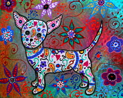 Mexican Paintings - Talavera White Chihuahua by Pristine Cartera Turkus