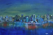 Phthalo Blue Paintings - Tale of 4 Cities by Barbara Hayes