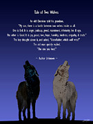 Parable Framed Prints - Tale of Two Wolves Framed Print by Schwartz