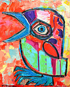 Macaw Art Paintings - Talkative Baby Bird First This Spring by Ana Maria Edulescu