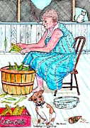 Front Porch Mixed Media Prints - Talking To The Dog - Sitting On The Front Porch Print by Philip Bracco