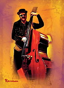 Gigs Art - Tall Cool Bass Player by Sadie Reneau