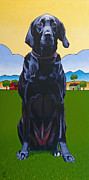 Labrador Retriever  Paintings - Tall Drink of Water by Stacey Neumiller