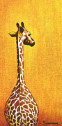 Tanzania Paintings - Tall Giraffe Looking Back by Jerome Stumphauzer