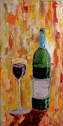 Wine Glass Paintings - Tall Merlot by Craig Wade