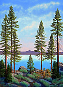 Gouache Prints - Tall Pines Of Lake Tahoe Print by Frank Wilson