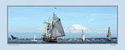 Commencement Bay Framed Prints - Tall Ship and Mt. Rainier Framed Print by John Bushnell