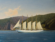 Historic Ship Painting Prints - Tall Ship Print by Andre Araujo