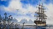 Tall Painting Posters - Tall Ship Cove Poster by James Williamson
