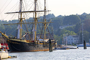 Wooden Ship Framed Prints - Tall Ship Docked in  Mystic Seaport Framed Print by George Oze