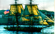 Sailing Ship Framed Prints Digital Art Prints - Tall Ship From Another Time Print by Janice Sakry