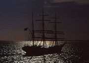Sailing Ships Mixed Media Posters - Tall ship in moonlight Poster by Anthony Dalton