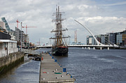 Jeanie Posters - Tall Ship in The Liffey Poster by Hugh Reynolds