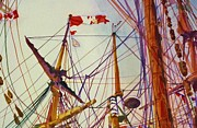 Pride Paintings - Tall Ship Lines by Cynthia Pride