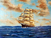 Lee Piper Art Prints - Tall Ship On The South Sea Print by Lee Piper