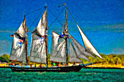 Schooner Framed Prints - Tall Ship paint  Framed Print by Steve Harrington