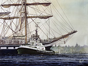 Sailing Greeting Cards Prints Prints - Tall Ship PALLADA Tug Assist Print by James Williamson
