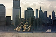 New York Art - Tall Ship sailing past the New York skyline by Nishanth Gopinathan