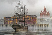 Tall Ship Painting Prints - Tall Ship Waterfront Print by James Williamson
