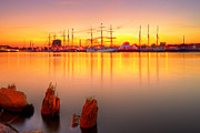 Fuad Azmat Art - Tall ships at Bay by Fuad Azmat