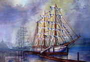 Flags Paintings - Tall Ships in Tacoma by Tanya Lemma