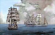 Tall Ships Off Newport Print by Steve Hamlin