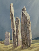 Formation Painting Posters - Tall Stones of Callanish Isle of Lewis Poster by Evangeline Dickson