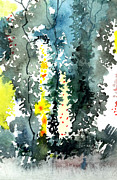 Anil Nene Mixed Media Posters - Tall trees Poster by Anil Nene