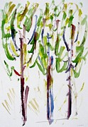Tree Paintings - Tall Trees by Chiho Yoshikawa