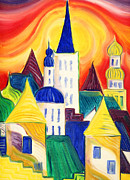 Onion Domes Painting Acrylic Prints - Tallinn Acrylic Print by Kate Shannon