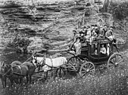 Wagon Wheels Photo Posters - TALLYHO STAGECOACH PARTY c. 1889 Poster by Daniel Hagerman