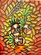 Human Rights Paintings - Talupan ang Pinya Peel the Pineapples by Marconi Calindas