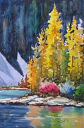 Snowy Trees Paintings - Tamaracks Of Jasper by Mohamed Hirji