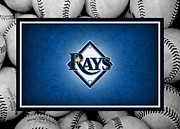 Baseball Bat Photo Framed Prints - Tampa Bay Rays Framed Print by Joe Hamilton