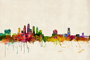 Skylines Digital Art Posters - Tampa Florida Skyline Poster by Michael Tompsett