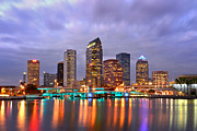 Buildings At Sunset Prints - Tampa Skyline at Dusk Early Evening Print by Jon Holiday
