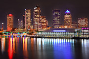 Tampa Skyline Posters - Tampa Skyline at Night Early Evening Poster by Jon Holiday