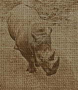 Tan Rhino Print by Jerry Hart