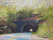 Blue Ridge Parkway Paintings - Tanbark Ridge Tunnel by Janet Wimmer