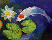 Koi Painting Posters - Tancho Koi and Water Lily Poster by Michael Creese