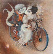 Bicycle Art Posters - Tandem Poster by Marina Gnetetsky