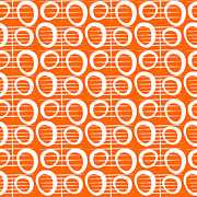 Pattern Mixed Media Posters - Tangerine Loop Poster by Linda Woods