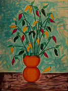 Santa Cruz Art Originals - Tangerine Peppers by Phoenix The Moody Artist