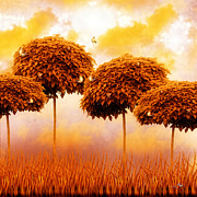 Tangerine Digital Art Prints - Tangerine Trees and Marmalade Skies Print by Mo T