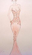 Fashion Illustration Pastels Posters - Tangerine Trellis Poster by Christine Corretti