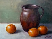 Still Life With Old Pottery Pitcher And Tangerines Painting Framed Prints - Tangerines Framed Print by Janet King