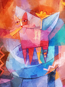 Fun Mixed Media Prints - Tango Cat Cubic Print by Lutz Baar