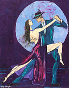 Fine Art Batik Framed Prints - Tango Dancers Framed Print by Kay Shaffer